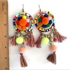 Pom Pom & Tassel Focus Pull Earrings